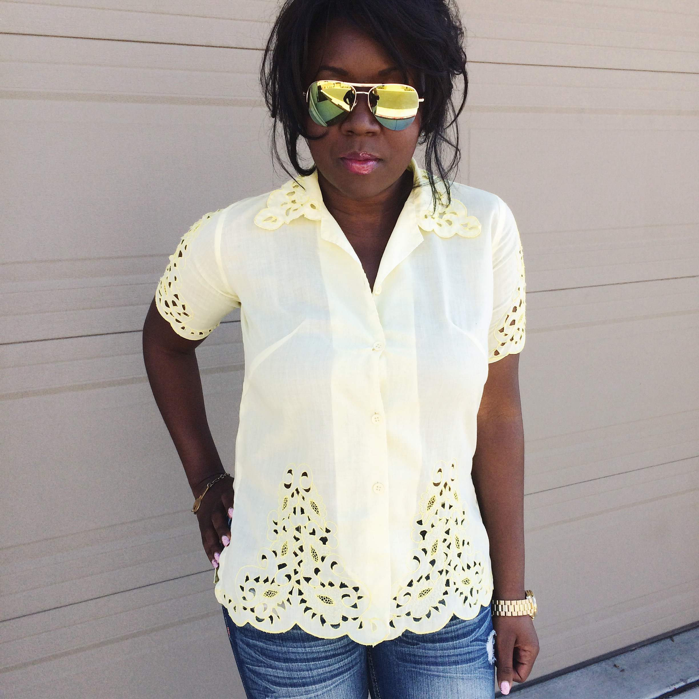 Statement Piece: yellow statement top