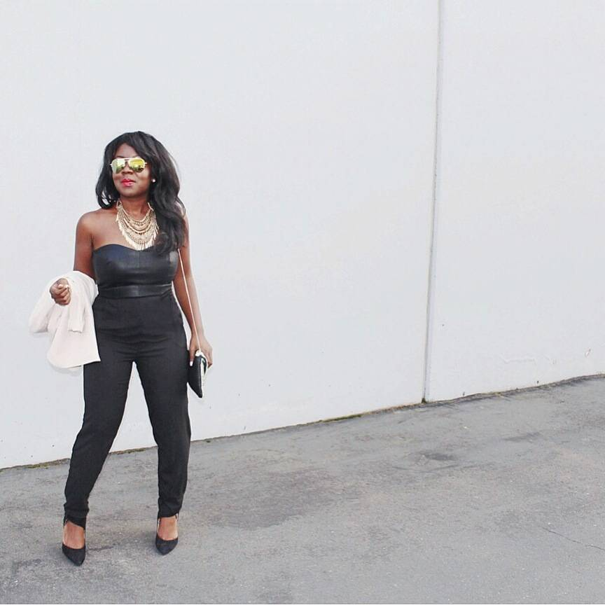 Spring fashion with an edge: black jumpsuit