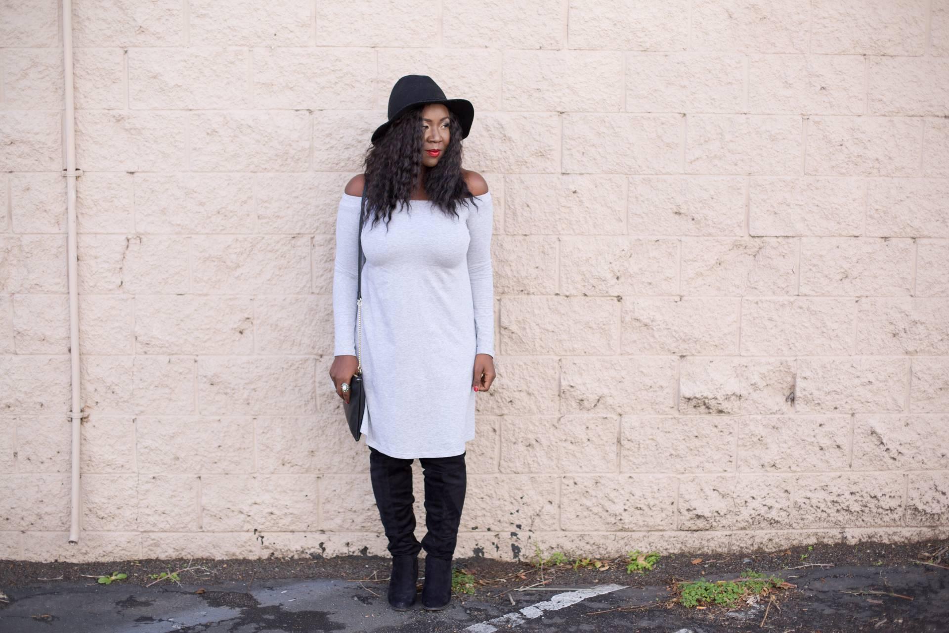 grey dress- cross body bag