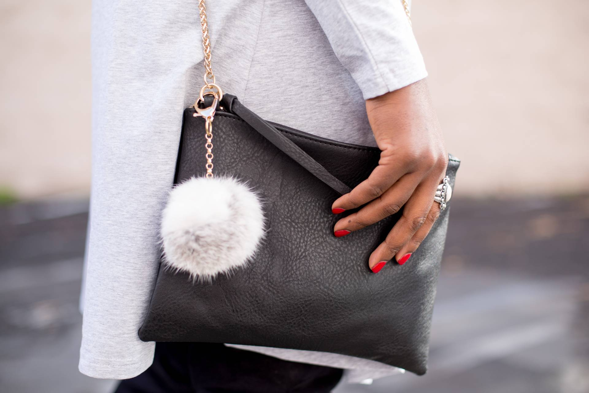 grey dress- accessories