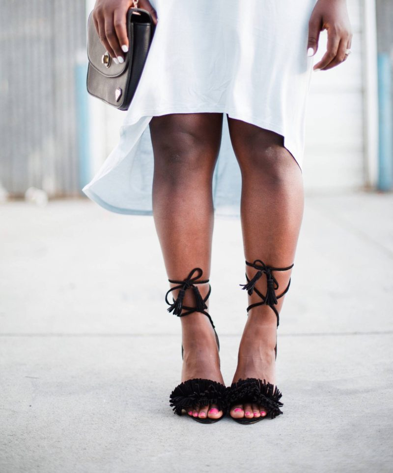 t-shirt-dress- steve madden shoes