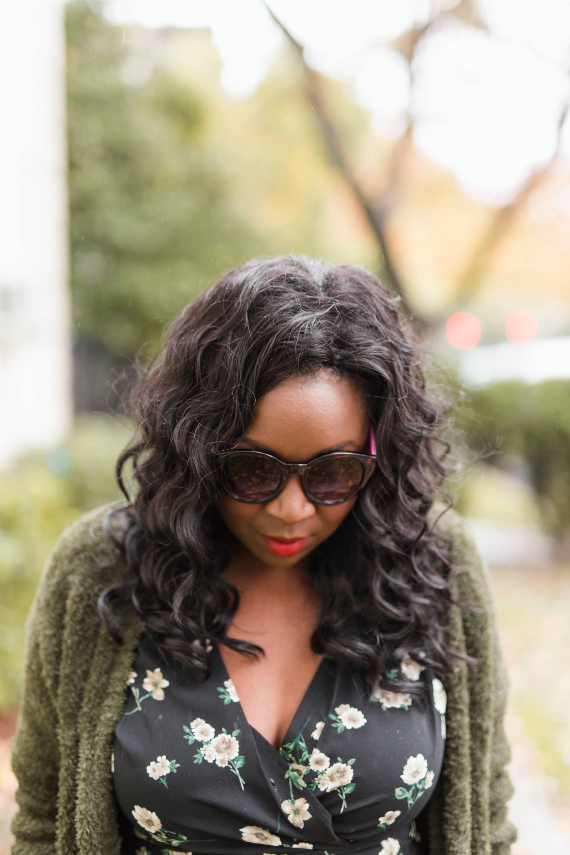 floral-wrap-dress- sunglasses