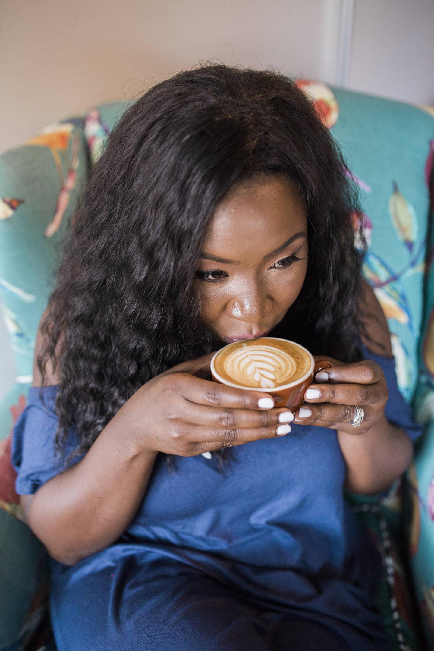 blue-maxi-dress-coffee-date- almond milk latte