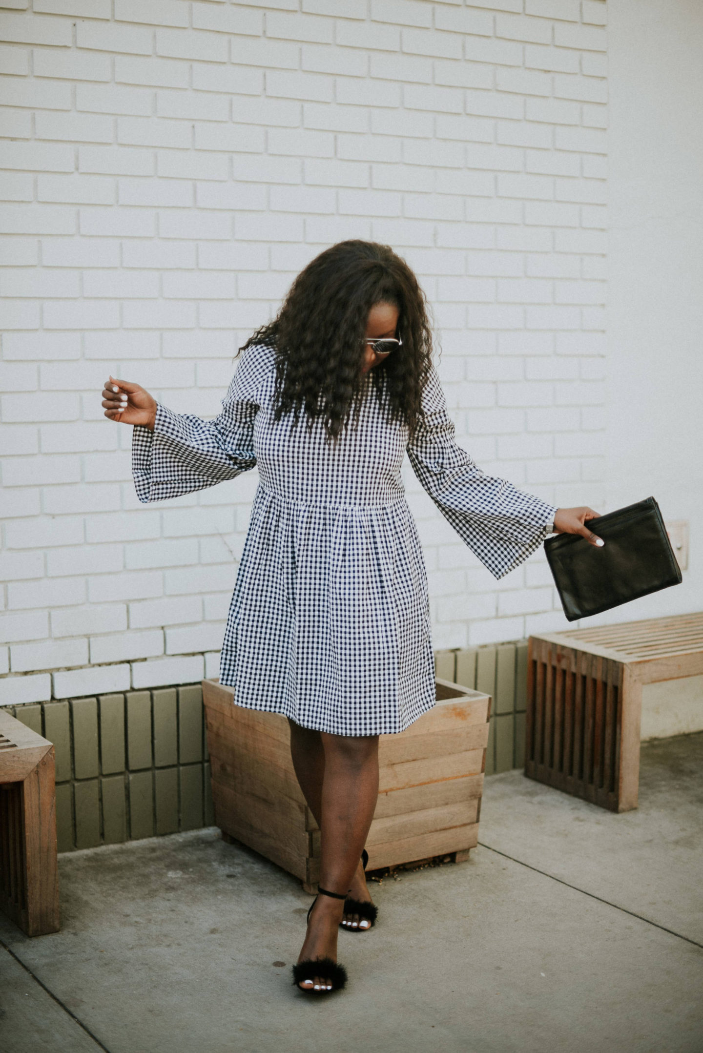 gingham-dresses- bell sleeve
