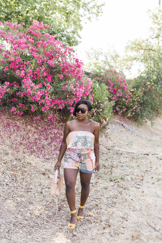 Strapless Romper: Floral Print